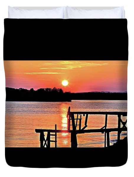 Surreal Smith Mountain Lake Dock Sunset Duvet Cover by The American Shutterbug Society