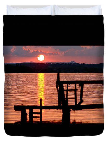 Surreal Smith Mountain Lake Dockside Sunset 2 Duvet Cover by The American Shutterbug Society
