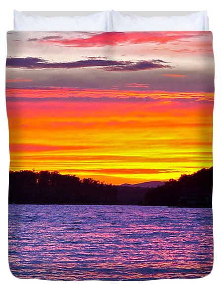 Surreal Smith Mountain Lake Sunset 2 Duvet Cover