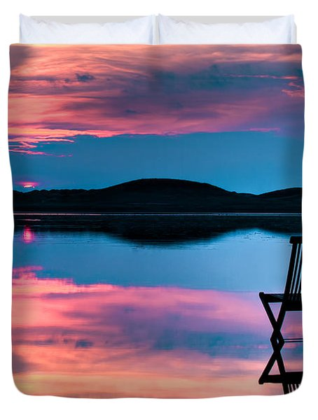 Duvet Cover featuring the photograph Surreal Sunset by Gert Lavsen