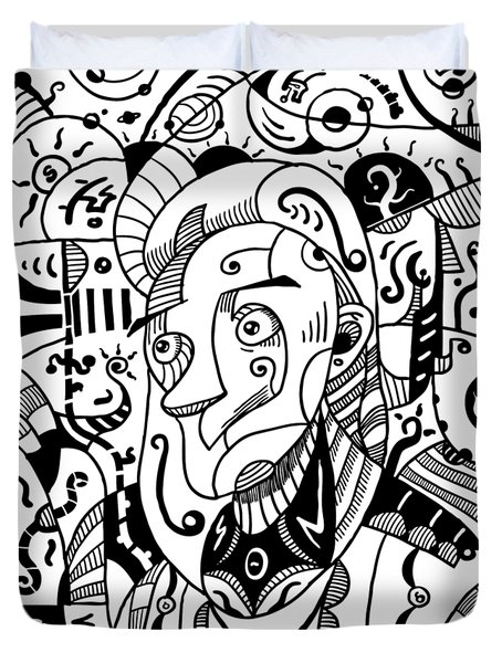Surrealism Philosopher Black And White Duvet Cover