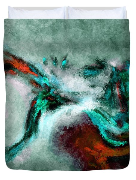 Duvet Cover featuring the painting Surrealist And Abstract Painting In Orange And Turquoise Color by Ayse Deniz