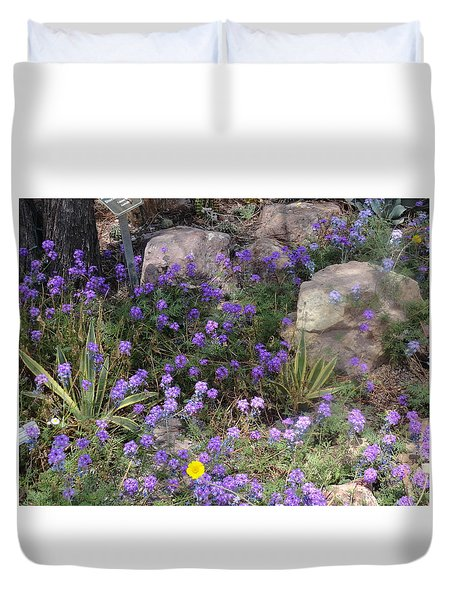 Surrounded By Purple Flowers Duvet Cover