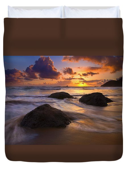 Surrounded By The Sea Duvet Cover by Mike  Dawson