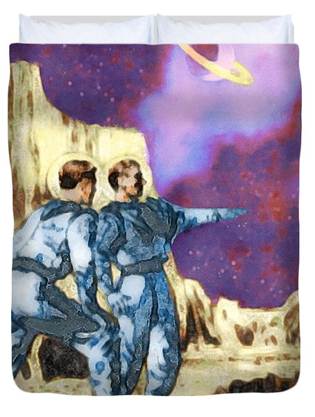 Survey Crew On Titan Duvet Cover