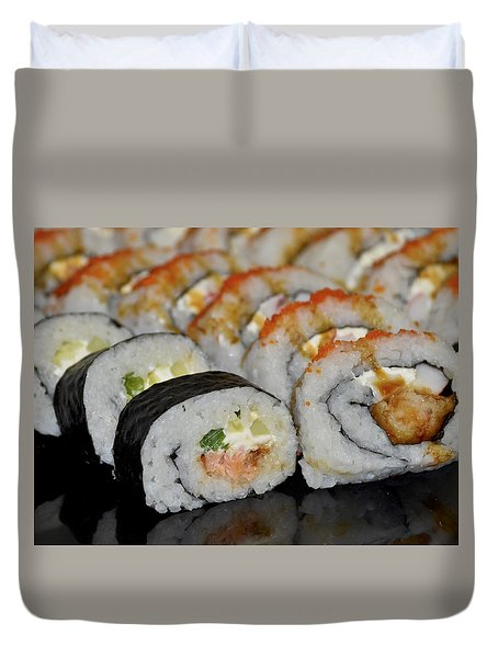 Duvet Cover featuring the photograph Sushi Rolls From Home by Carolyn Marshall