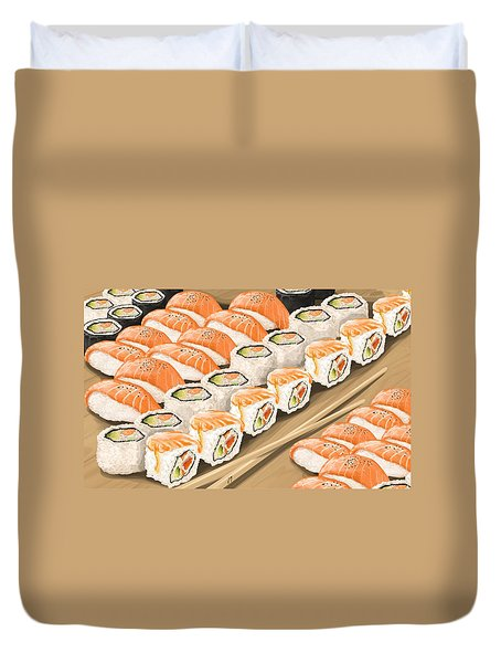 Duvet Cover featuring the painting Sushi by Veronica Minozzi