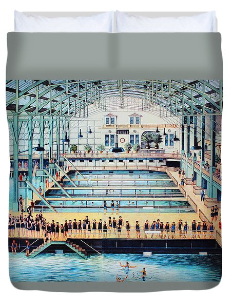 Sutro Baths At The Cliff House Duvet Cover by Natalie Ortiz