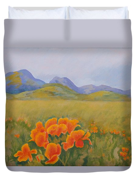 Sutter Buttes With California Poppies Duvet Cover
