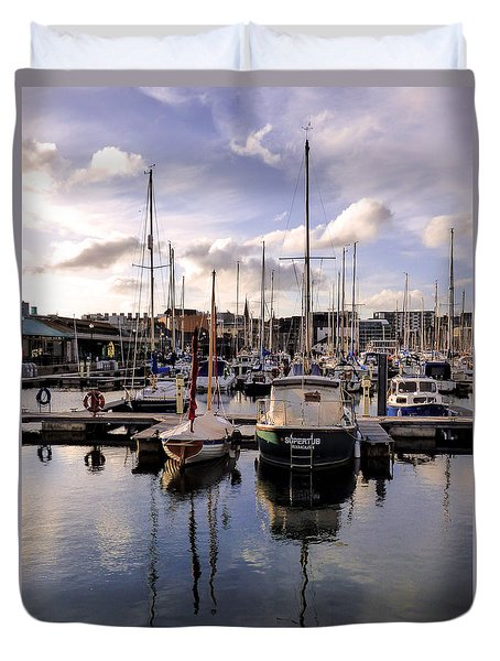 Duvet Cover featuring the photograph Sutton Harbour Marina Plymouth England by Lynn Bolt