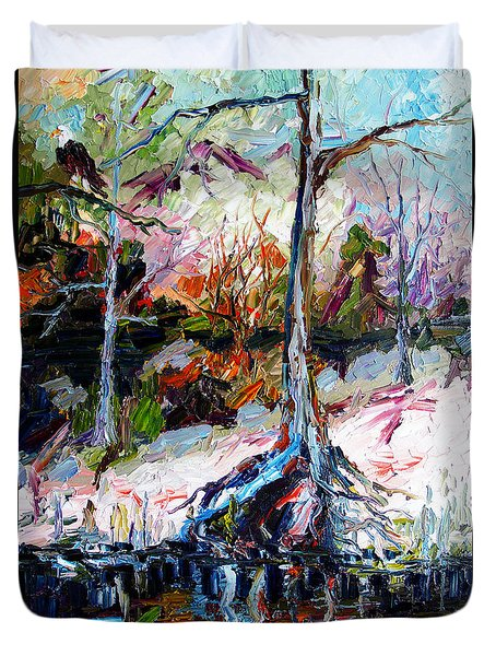 Duvet Cover featuring the painting Suwanee River Black Waters Modern Art by Ginette Callaway