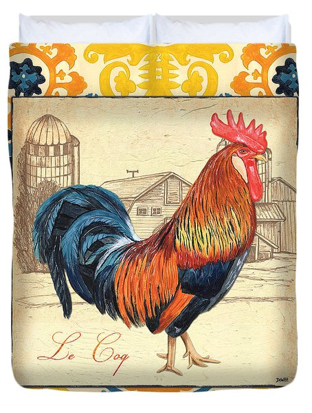 Suzani Rooster 2 Duvet Cover by Debbie DeWitt