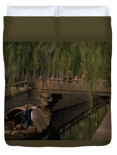 Duvet Cover featuring the photograph Suzhou Canals by Travel Pics