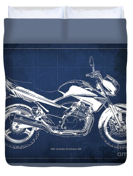Suzuki Inazuma 250 2012 Blueprint, Christmas Gift For Bikers, Blue Background Duvet Cover