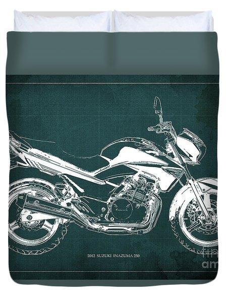 Suzuki Inazuma 250 2012 Blueprint Gift For Bikers Green Background Duvet Cover