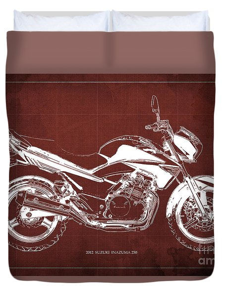 Suzuki Inazuma 250 2012 Blueprint Gift For Bikers Red Background Duvet Cover