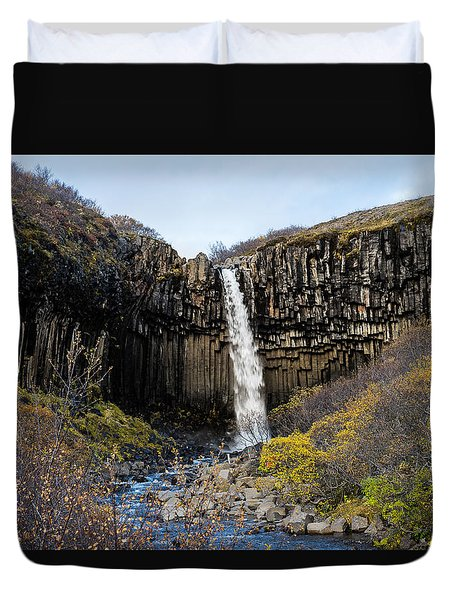 Duvet Cover featuring the photograph Svartifoss by James Billings
