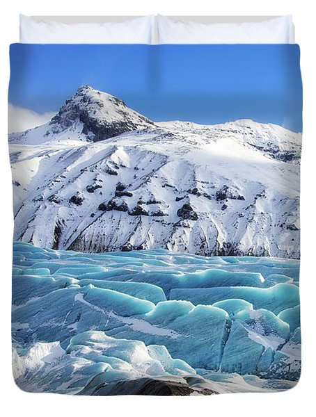 Duvet Cover featuring the photograph Svinafellsjokull Glacier Iceland by Matthias Hauser