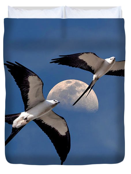 Swallow Tail Kites In Flight Under Moon Duvet Cover