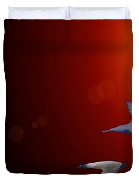 Swallows In Flight Duvet Cover by George Pedro