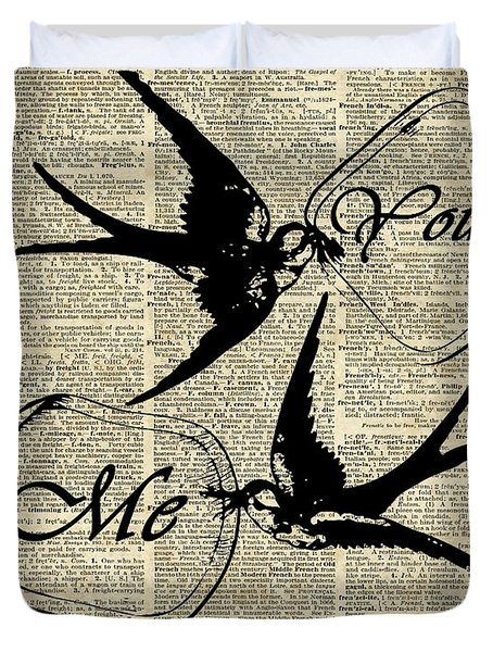 Swallows In Love,flying Birds Vintage Dictionary Art Duvet Cover