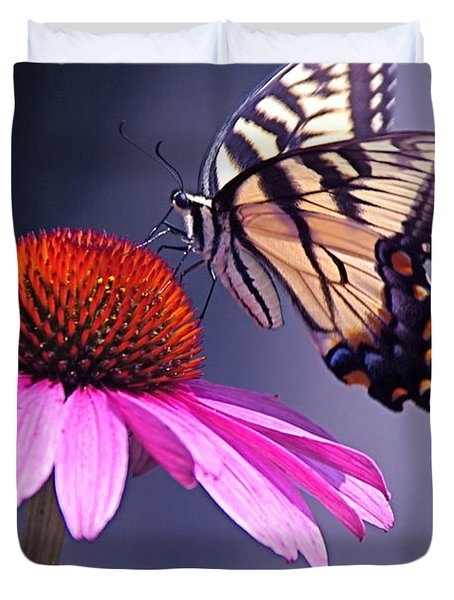 Duvet Cover featuring the photograph Swallowtail And Coneflower by Byron Varvarigos