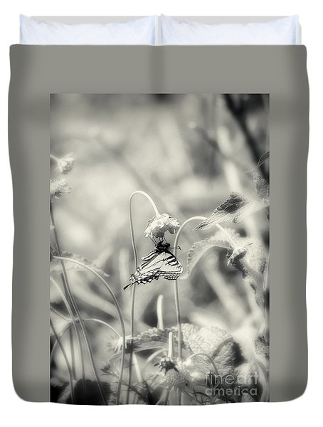 Swallowtail In Black And White Duvet Cover