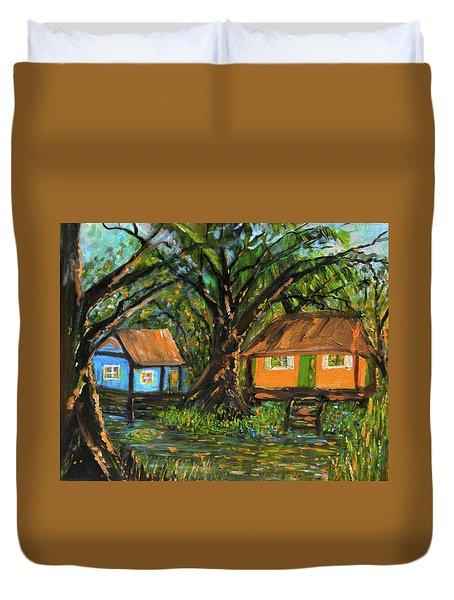 Swamp Cabins Duvet Cover