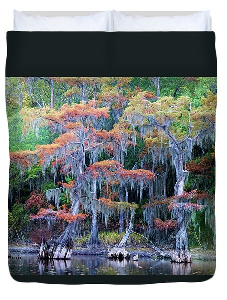 Duvet Cover featuring the photograph Swamp Dance by Lana Trussell