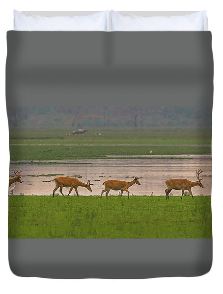 Swamp Deers Duvet Cover