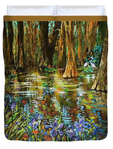 Swamp Iris Duvet Cover by Dianne Parks