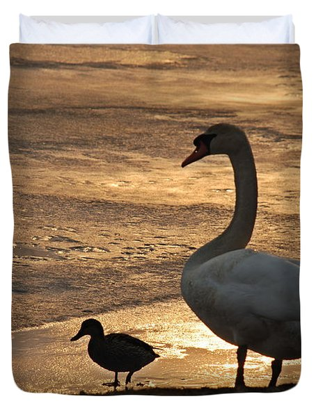 Duvet Cover featuring the photograph Swan And Baby At Sunset by Richard Bryce and Family
