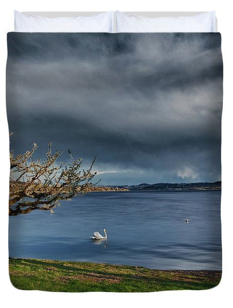 Swan And Tree Duvet Cover