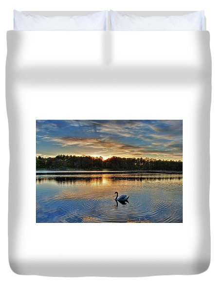 Duvet Cover featuring the photograph Swan At Sunset by Wayne Marshall Chase