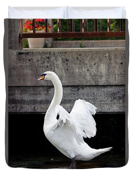 Swan At The Bridge Duvet Cover