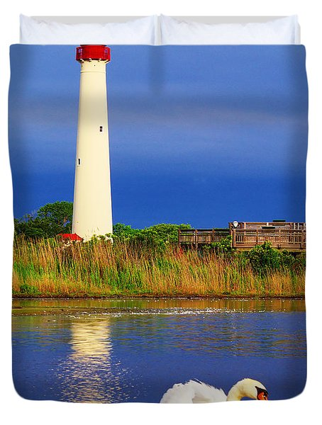 Swan At The Lighthouse Duvet Cover