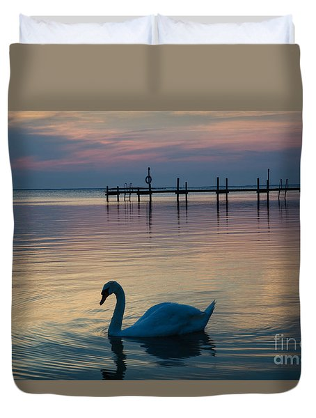 Swan At Twilight Reflections Duvet Cover
