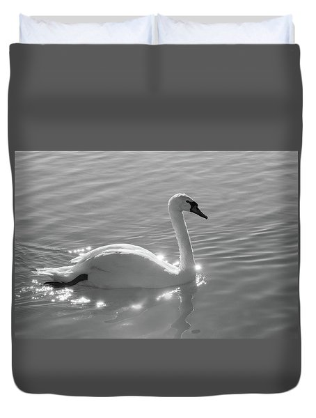 Swan Bathed In Light Duvet Cover