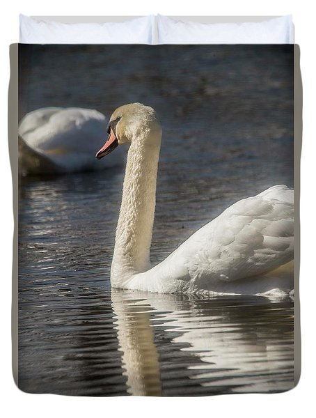 Duvet Cover featuring the photograph Swan by David Bearden