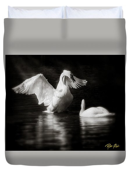 Swan Display Duvet Cover by Rikk Flohr