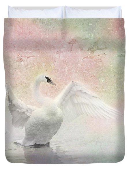 Swan Dream - Display Spring Pastel Colors Duvet Cover