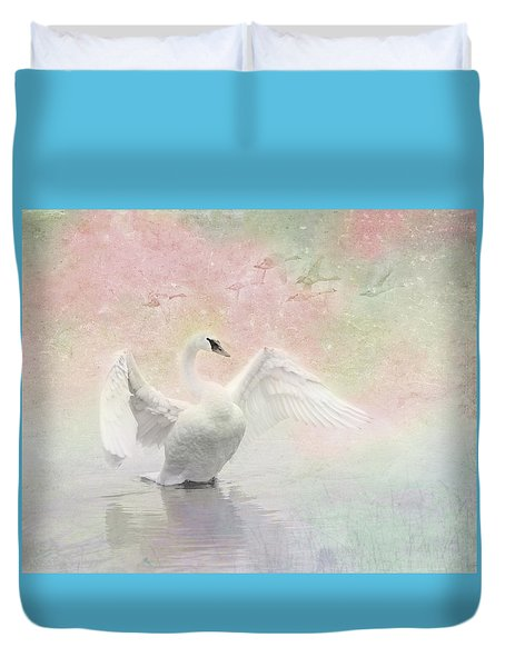 Duvet Cover featuring the photograph Swan Dream - Display Spring Pastel Colors by Patti Deters