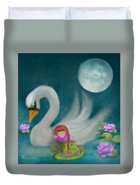 Swan Dreams By Sannel Larson Duvet Cover