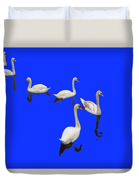 Swan Family On Blue Duvet Cover by Constantine Gregory