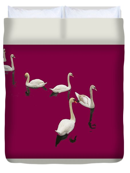 Duvet Cover featuring the photograph Swan Family On Burgandy by Constantine Gregory