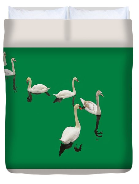 Duvet Cover featuring the photograph Swan Family On Green by Constantine Gregory