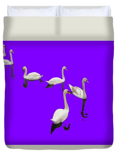 Duvet Cover featuring the photograph Swan Family On Purple by Constantine Gregory