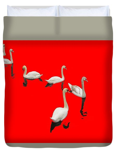 Duvet Cover featuring the photograph Swan Family On Red by Constantine Gregory