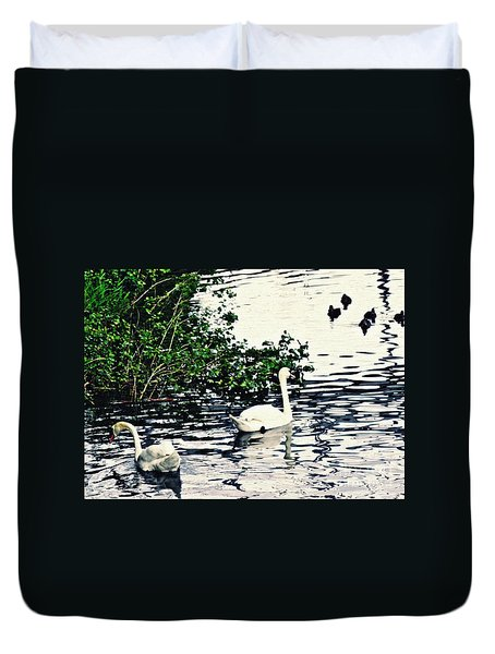 Duvet Cover featuring the photograph Swan Family On The Rhine 2 by Sarah Loft