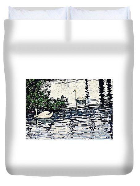 Duvet Cover featuring the photograph Swan Family On The Rhine 3 by Sarah Loft